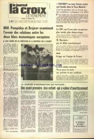JOURNAL LA CROIX L'EVENEMENT (LE) no:27373 13/01/1973