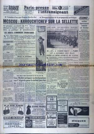 PARIS PRESSE L'INTRANSIGEANT 7 EME EDITION  no: 22/12/1956