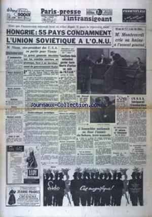 PARIS PRESSE L'INTRANSIGEANT 7 EME EDITION  no: 14/12/1956