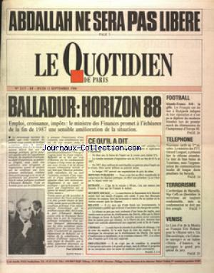 QUOTISDIEN DE PARIS (LE) no:2117 11/09/1986