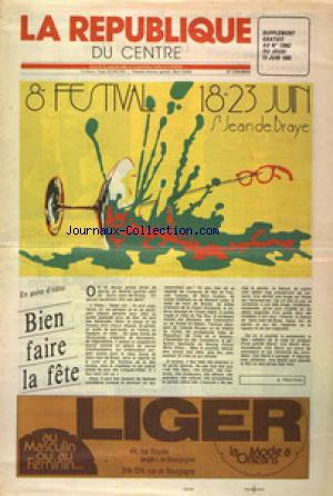REPUBLIQUE DU CENTRE SUPPLEMENT(LA) no:12063 13/06/1985