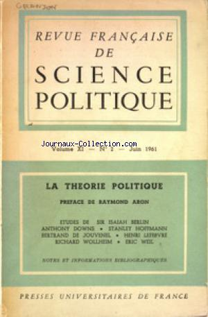 REVUIE FRANCAISE DE SCIENCE POLITIQUE no:2 01/06/1961