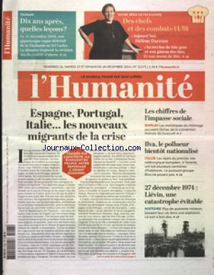 HUMANITE (L') no:21575 26/12/2014
