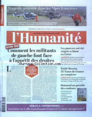 HUMANITE (L') no:21637 25/03/2015