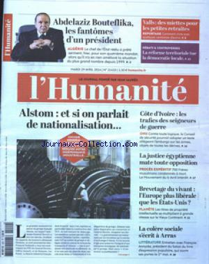 HUMANITE (L') no:21410 29/04/2014