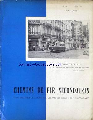 CHEMINS DE FER SECONDAIRES no:52 01/04/1962