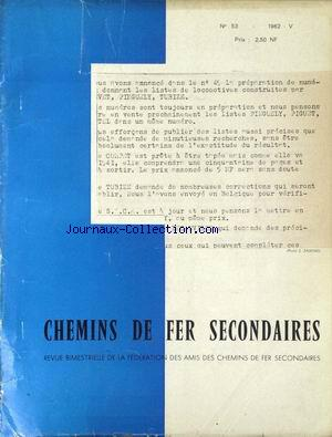CHEMINS DE FER SECONDAIRES no:53 01/05/1962