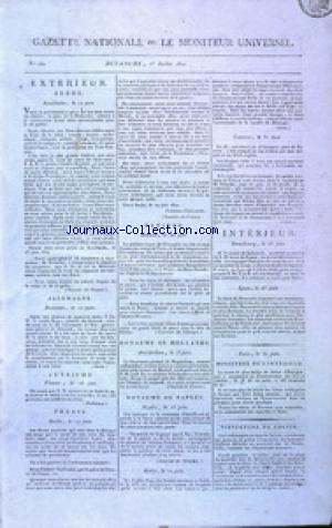 GAZETTE NATIONALE OU LE MONITEUR UNIVERSEL no:182 01/07/1810