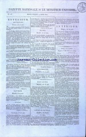 GAZETTE NATIONALE OU LE MONITEUR UNIVERSEL no:185 04/07/1810