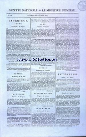 GAZETTE NATIONALE OU LE MONITEUR UNIVERSEL no:196 15/07/1810