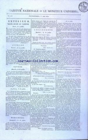 GAZETTE NATIONALE OU LE MONITEUR UNIVERSEL no:215 03/08/1810