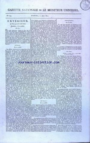 GAZETTE NATIONALE OU LE MONITEUR UNIVERSEL no:219 07/08/1810
