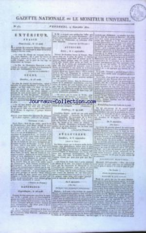 GAZETTE NATIONALE OU LE MONITEUR UNIVERSEL no:257 14/09/1810