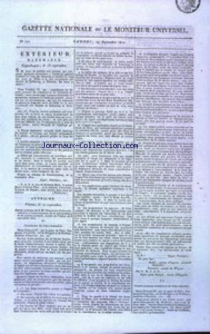 GAZETTE NATIONALE OU LE MONITEUR UNIVERSEL no:272 29/09/1810