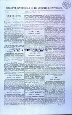 GAZETTE NATIONALE OU LE MONITEUR UNIVERSEL no:288 15/10/1810