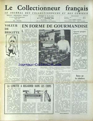 COLLECTIONNEUR FRANCAIS (LE) no:11 01/02/1966