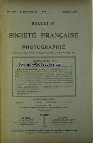 SOCIETE FRANCAISE DE PHOTOGRAPHIE no:9 01/09/1922