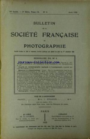 SOCIETE FRANCAISE DE PHOTOGRAPHIE no:8 01/08/1922