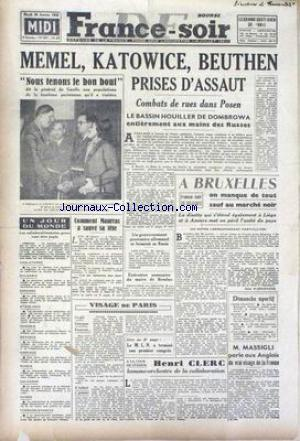 FRANCE SOIR EDITION DE MIDI no:187 30/01/1945