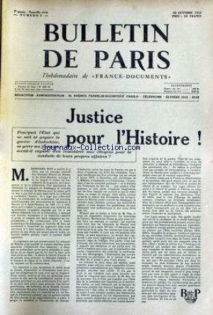 BULLETIN DE PARIS no:3 30/10/1953