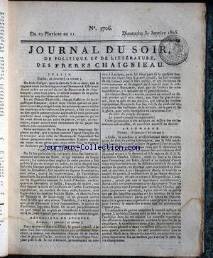 JOURNAL DU SOIR no:1706 30/01/1803