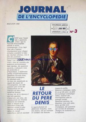JOURNAL DE L'ENCYCLOPEDIE no:3 01/05/1985