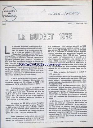 MINISTERE DE L'EDUCATION no:3 31/10/1974