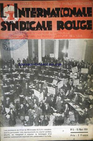 INTERNATIONALE SYNDICALE ROUGE (L') no:6 15/03/1931