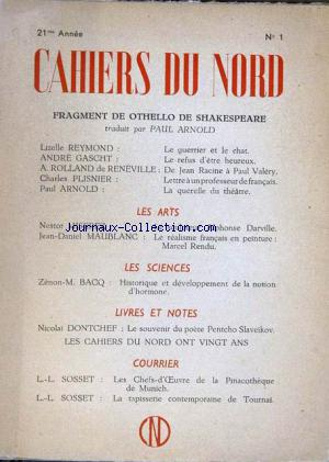CAHIERS DU NORD no:1