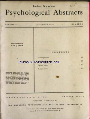 PSYCHOLOGICAL ABSTRACTS no:6 01/12/1958