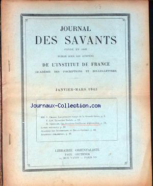 JOURNAL DES SAVANTS no: 01/01/1943