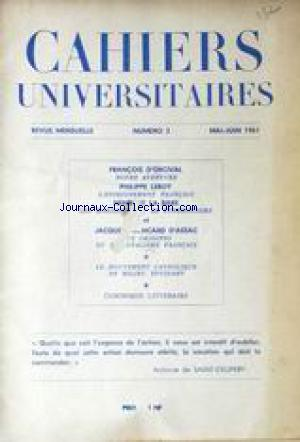 CAHIERS UNIVERSITAIRES no:3 01/05/1961
