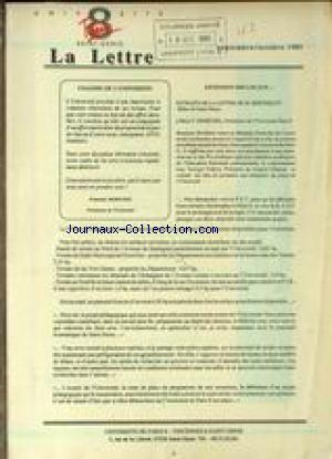 LETTRE DE L'UNIVERSITE PARIS 8/ SAINT DENIS (LA) no: 01/09/1989