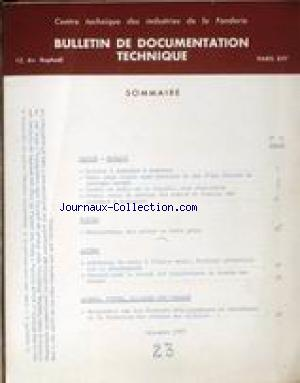 BULLETIN DE DOCUMENTATION TECHNIQUE no:23 01/12/1958