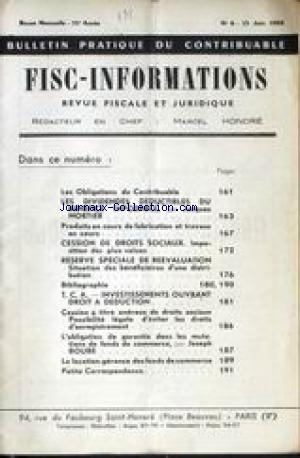 FISC INFORMATIONS no:6 15/06/1962