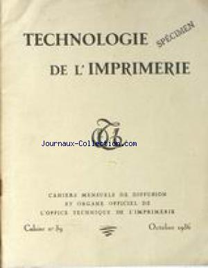 TECHNOLOGIE DE L'IMPREMERIE no:39 01/10/1936