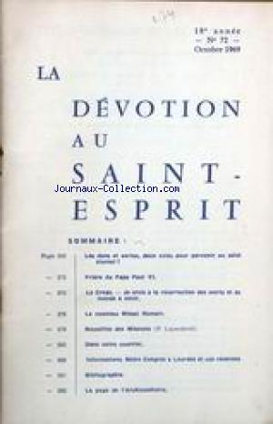 DEVOTION AU SAINT ESPRIT (LA) no:72 01/10/1939