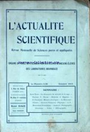 ACTUALITE SCIENTIFIQUE (L') no: 01/10/1913