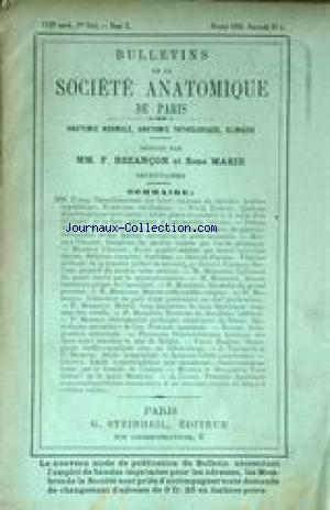 BULLETINS DE LA SOCIETE ANATOMIQUE DE PARIS no:5 01/02/1896