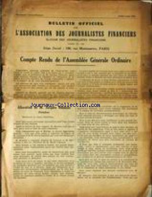 BULLETIN OFFICIEL DE L'ASSOCIATION DES JOURNALISTES FINANCIERS no: 01/07/1932
