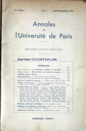 ANNALES DE L'UNIVERSITE DE PARIS no:3 01/07/1951