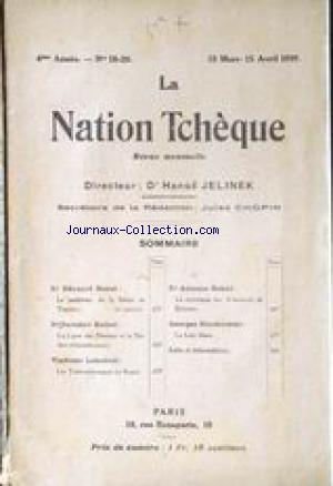 NATION TCHEQUE - DR ANUS JELINEK - JULES CHOPIN (LA) no:18 15/03/1919