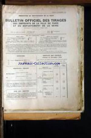 BULLETIN OFFICIEL DES TIRAGES/ DES EMPRUNTS DE LA VILLE DE PARIS ET DU DEPARTEMENT DE LA SEINE. no:21 05/11/1942