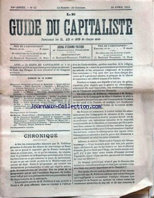 GUIDE DU CAPITALISTE (LE) no:12 25/04/1911