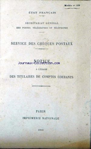 SECRETARIAT GENERAL DES  PTT no:109 01/01/1942