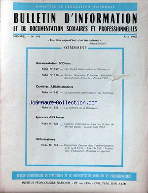 MINISTERE DE L'EDUCATION NATIONALE no:148 01/04/1968