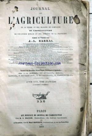 JOURNAL D'AGRICULTURE no:4 01/10/1878