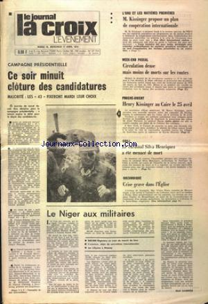 JOURNAL LA CROIX L'EVENEMENT (LE)  no: 16/04/1974
