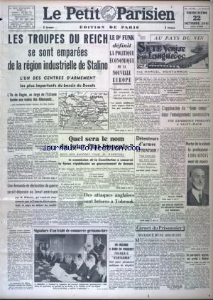 PETIT PARISIEN EDITION DE PARIS  (LE) no:23574 22/10/1941