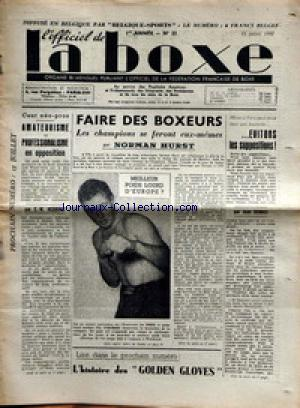 OFFICIEL DE LA BOXE (L') no:21 11/07/1947
